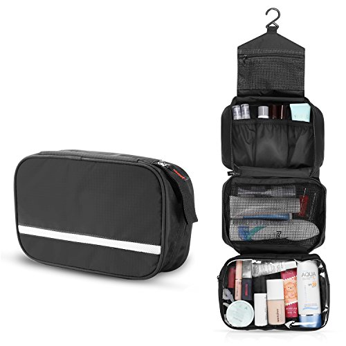 "Premium Hanging Toiletry Bag Travel Kit for Men and Women Cosmetic Makeup Bag Size L (24""x17"") Leak Proof Clear Pockets Detachable Compartment Christmas Gifts Black"