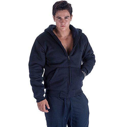 Solid Sherpa Lined Hoodie - Leehanton Mens Sherpa Lined Hoodies Heavyweight Casual Warm Solid Sweatshirt Navy M