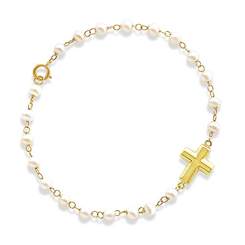 Religious Bracelets-Puff Cross Charm on Pearl Bracelet Crafted in 14K Yellow Gold by Unknown