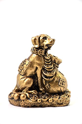 2018 Chinese year of dog Horoscope Chinese Zodiac Handmade Golden Resin Dog With Money Bag Collectible statue Figurine (Chinese Horse Stone)