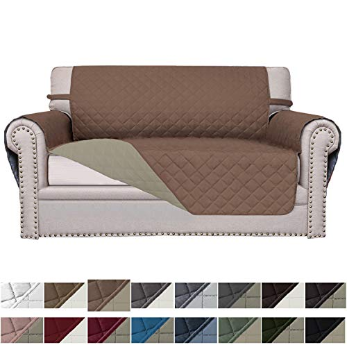 Easy-Going Sofa Slipcover Reversible Sofa Cover Furniture Protector Couch Cover Elastic Straps Pets Kids Children Dog Cat (Loveseat,Brown/Beige)