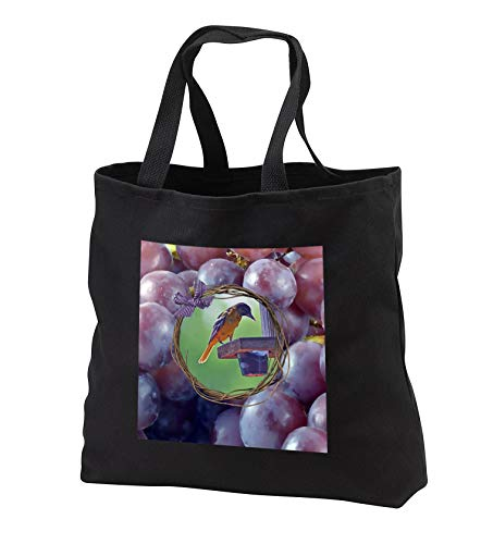 Beverly Turner Bird Photography - Baltimore Oriole at Feeder, Twig and Grape Frame with Bow, Purple - Tote Bags - Black Tote Bag JUMBO 20w x 15h x 5d (tb_299603_3) ()