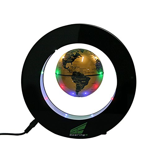Magnetic Levitation Floating World Map Globe with LED Lights for Learning Education Teaching Demo Home Office Desk Decoration (Circle + Gold Globe)