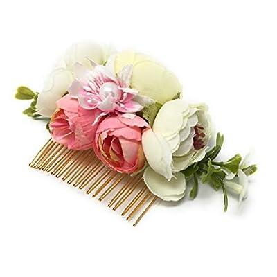 Wedding Bridal Camellia Flower Hair Comb Woodland Hair Pins Headpiece