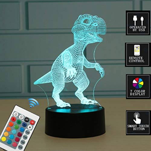 Jinging1 3D Shark Illusion Light 7 Colors Changing Table Desk Deco Lamp Bedroom Children Room Decorative Night Light