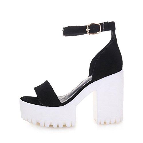 AmoonyFashion Womens Open Toe Buckle Sheepskin Solid High-Heels Sandals Black U0fY6VY2bI
