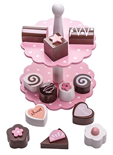 Wooden Dessert Tower Play Set, 14 pieces including cake stand, cakes, pastries, chocolates and tin gift box