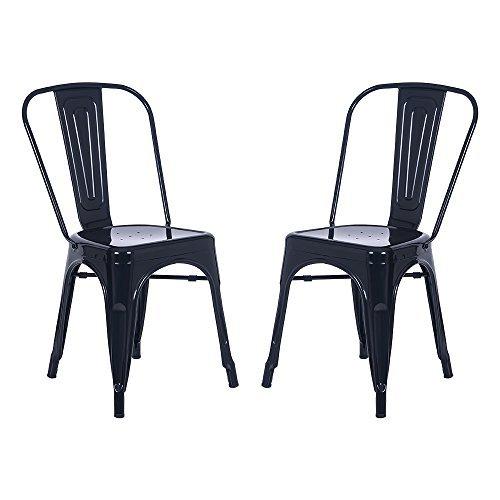 - Merax High Back Steel Stackable Vintage Metal Dining Chair Set of 2 (Black)
