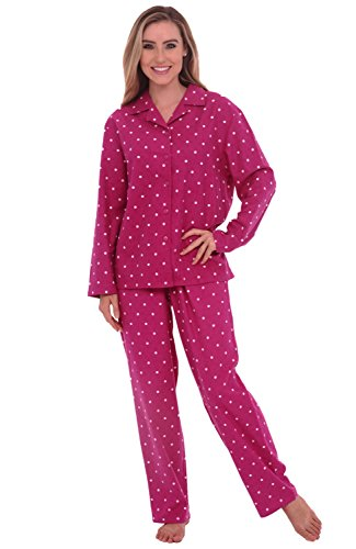 Del Rossa Women's Flannel Pajama Set - Medium / 4-8 - Pink with White Dots