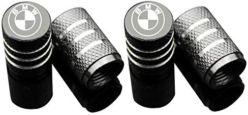 AUDI Black Red White Logo Anti Theft Black Tyre Valve // Dust Cap x4