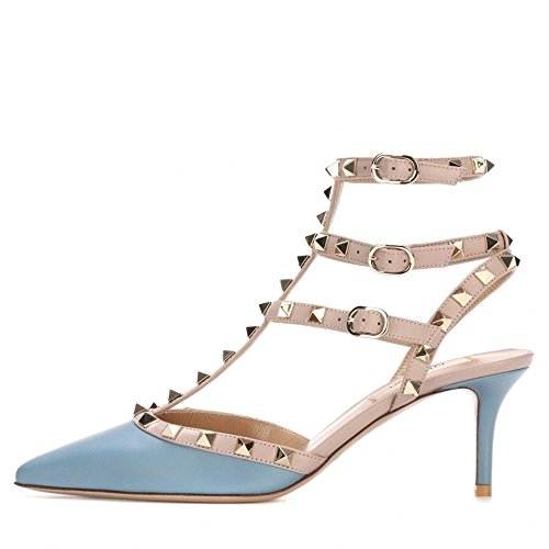 Nude Punta Strap Pan Slingback Matte Borchie Blue con Studs Caitlin con Punta Cinturino Donna Stud a Gold Dress Kitten Heel Sandali wHvd1qxREd