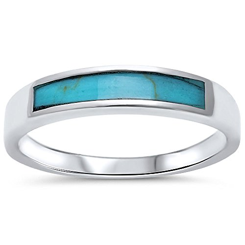 Turquoise Design Band .925 Sterling Silver Ring Size 8 by Oxford Diamond Co