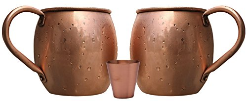 Melange 24 Oz Copper Barrel Mug for Moscow Mules, Set of 2 with One Shot Glass - Heavy Gauge - No Lining - Includes Free Recipe Card