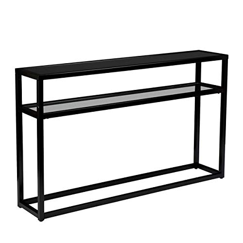 Metal and Glass Console Table - Powder Coated Tube Console Table with 2 Shelf - ()