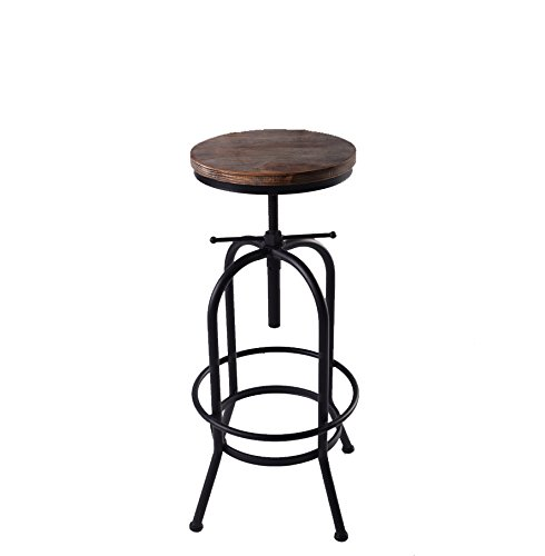 Articial Adjustable Rustic Industrial Bar Stool Swivel Pine Wood Top Metal Frame Bar Chair Footrest Leisure Coffee Chair by Articial (Image #1)