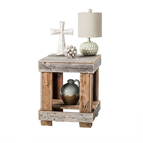 del Hutson Designs - Rustic Barnwood End Table, USA Handmade Reclaimed Wood (Natural) - Distressed Natural