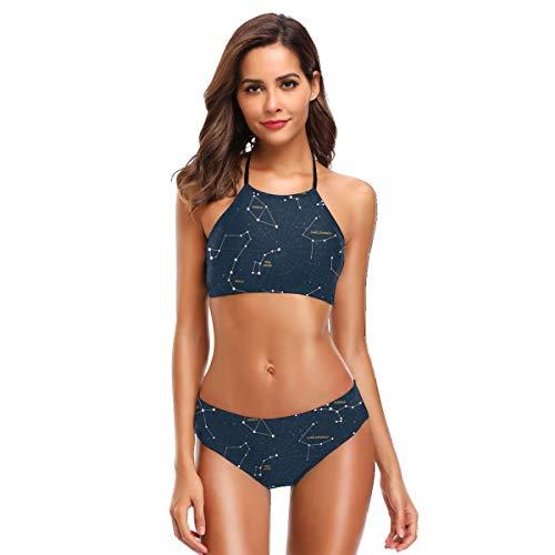 (Women's Two Piece Bikini Swimsuits,Sky Map Andromeda Lacerta Cygnus Lyra Hercules Draco Bootes Lynx S)