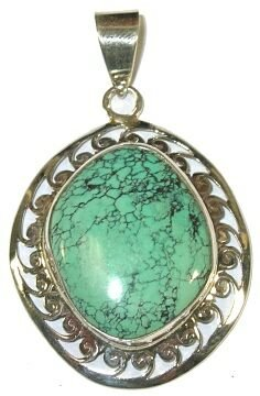 Freeform Turquoise & Sterling Silver Pendant (Bead Freeform Turquoise Pendant)