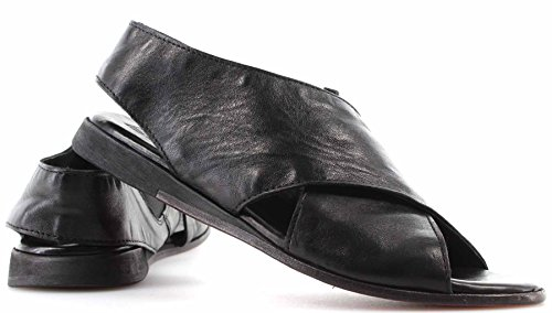 MOMA! Women's Shoes Sandals 33803 1A Kenia Nero Leather