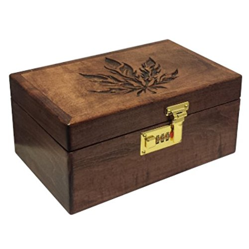 Airtight Herb Stash Box with Raw Rolling Tray, Lock and Mirror, Removable Trays, Handcrafted Wooden Weed Container for Smoking Marijuana or Tobacco, Red Leaf Tokebox, Made in USA