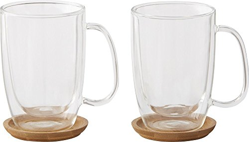 Caribou Coffee 12 0z. Coffee Mugs Double Try Glass (2 Pack) Includes Trivets