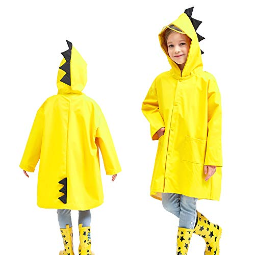 Mini Balabala Kids Rain Jacket Age 2-10 Dinosaur Shaped Cartoon Rain Cape Funny Children Rain Coat Lightweight Rainwear for Boy for Girl Yellow Size M
