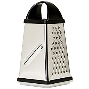 Oliver & Kline Stainless Steel Box Surface Glide Technology 4-Sided Cheese Grater and Vegetable Slicer with Storage Container Set