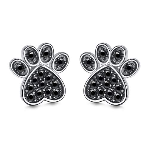 S925 Sterling Silver Jewelry Puppy Dog Cat Pet Paw Print Stud Earrings (Black CZ)