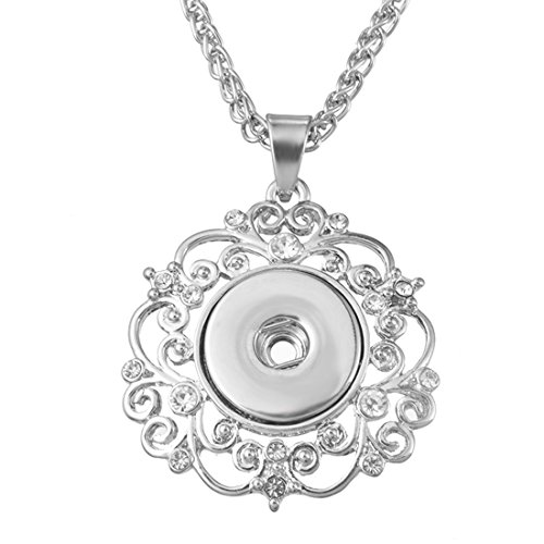 Souarts Silver Tone Color Floral Pendant Necklace Bracelet Fit 5.5mm DIY Snap Button (Necklace) ()