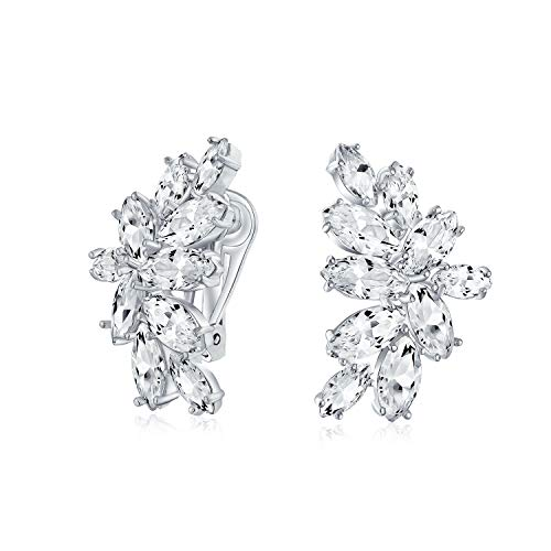 Marquise Cut Clusters Cubic Zirconia CZ Clip-On Earrings For Women Brides Prom Party Silver Plated Brass
