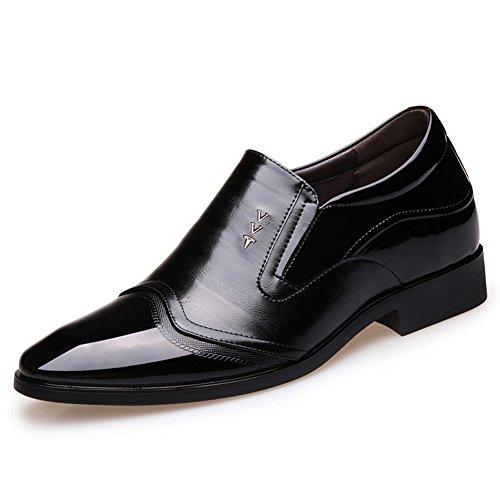 Men's Schuhe Leder Rutschen Sehnen Schwarz Hochzeit Dress Schwarzbraun Herbst Freizeit Mode Business qp1qwrR