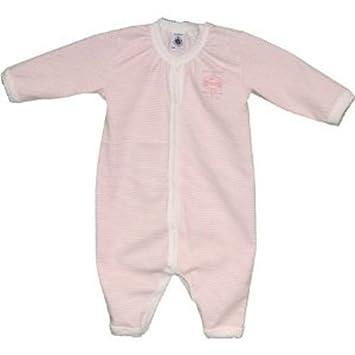 c28b2912338a8 Petit Bateau - 65885 - Pyjama Bébé Fille sans Pieds à Fines Rayures - Rose  Pale