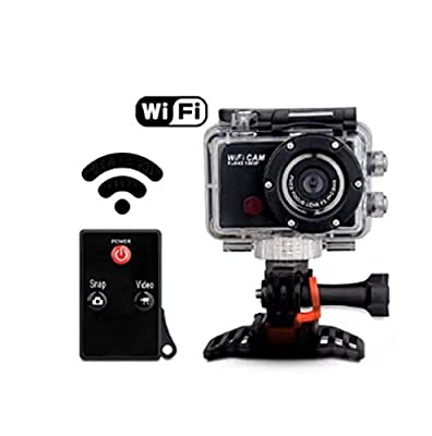 ZTHY G386 Wifi Sport Action Camera Helmet Cam DVR Car Recorder Full HD 1080P 120 Degree Wide Angle Waterproof Control By Phone Tablet PC (Black)