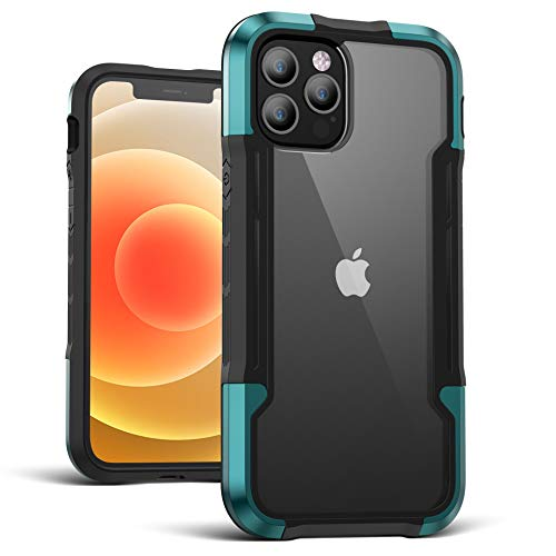 Case for iPhone 12 Pro/12/12 Pro Max/12 Mini Case,Edge Shockproof [Military Grade Drop Tested] Cases Durable Metal Anodized Aluminum Frame+Flexible TPU+PC Protector(For iPhone 12 Pro,Dark Green)