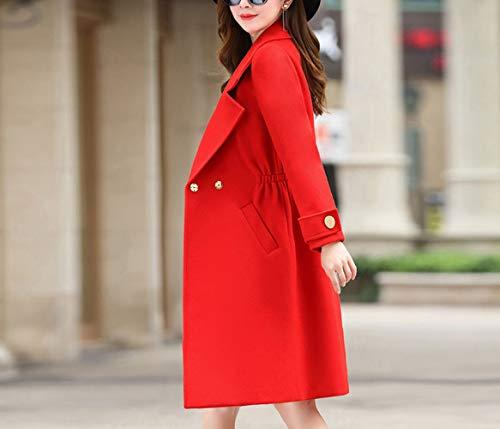 per vivace di autunno lana di inverno a e rosso cotone le di giacca donne inverno Cappotto vento autunno donna caldo lungo elegante Ab sottile giacca donna moda qAFaCxvAw