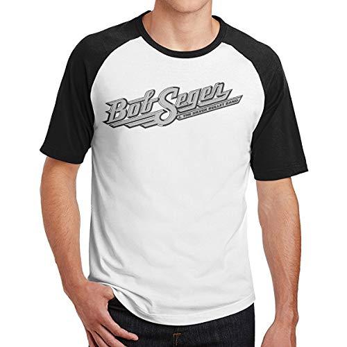 NewSmarter Men's Short Sleeve Baseball T-Shirts,Bob-Seger-The-Silver-Bullet-Band- Round Neck Raglan Blouse Black XXL ()