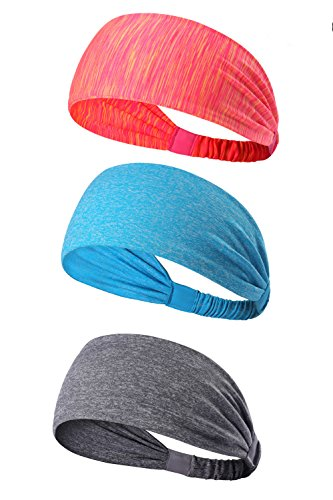 KEREITH 3PACK Women Sports Headband/Non-Slip Sweatband Hairband for Cycling/Running/Walking for Men Girls Boys Teens (Peach Stripe,skey Blue Melange,Grey Melange)
