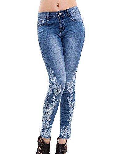 Taille Up Bleu Jeans Brods Jean Clair Pantalons Haute Crayon Fleurs Stretch Femme Push ShiFan fqxHwt8H