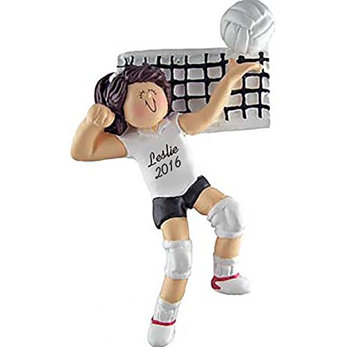 Volleyball Girl Brunette Personalized Ornament