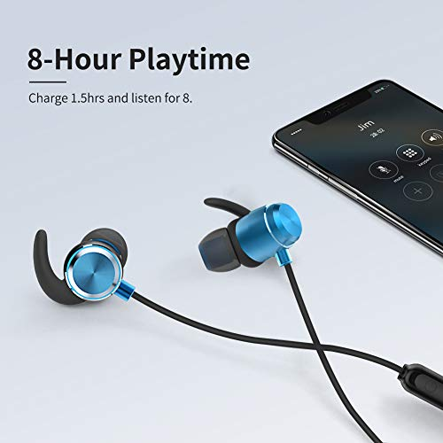 Cdrival Bluetooth Neckband Headphones, IPX5 Waterproof Sports Earphone, Bluetooth V5.0 in-Ear Stereo Wireless Headset for Running, Gym, Workout, Travel, Magnetic Connector& Built-in Mic - Blue