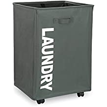 IHOMAGIC Foldable Laundry Basket with Wheels, Laundry Bins with handles, Laundry Hamper for Clothes Storage (L15.4 x W13.4 x H22.1 inch) (Medium, Dark Grey)