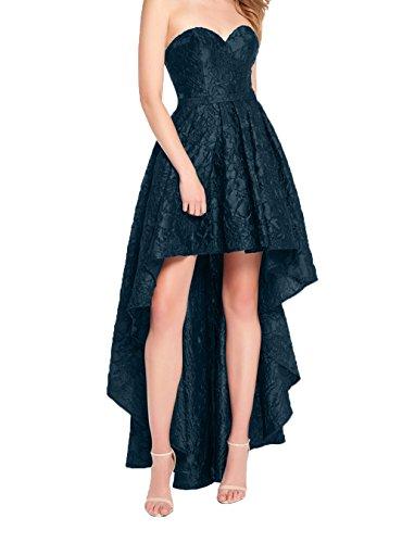 Damen lo Partykleider Abschlussballkleider Promkleider Kleider Damen Linie Hi Blau Spite Abendkleider Festlich Charmant Dunkel Lang A q07SwC
