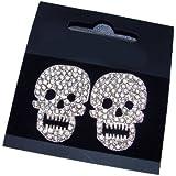 Bling Online Large 3cm Silver Tone Crystal Skull Face Stud Earrings.