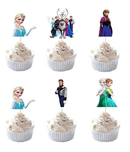 PrincessCake Set of 24 Pieces Frozen Cake Cupcake Decorative Cupcake Topper for Kids Birthday Party