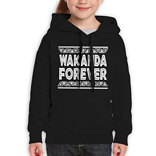 Teen Girls Boys Youth Hoodie Wakanda Forever Black M