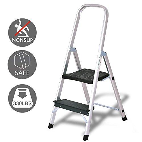 Aluminum Assist Steps - Giantex Aluminum 2 Step Ladder Folding Non-Slip 330lbs Capacity Work Platform Stool