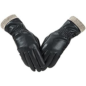 Winter Leather Gloves for Women, Wool Fleece Lined Warm Gloves by REDESS
