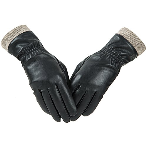 Winter Leather Gloves for Women, Wool Fleece Lined Warm Gloves, Touchscreen Texting...