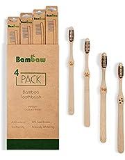 Bamboe Tandenborstel   Medium   Houten Eco Tandenborstel   Geactiveerde Houtskool Tanden Bleken   Antibacteriële Tandenborstel   100% Biologisch Afbreekbare Handgreep   4 Stuks   Bambaw
