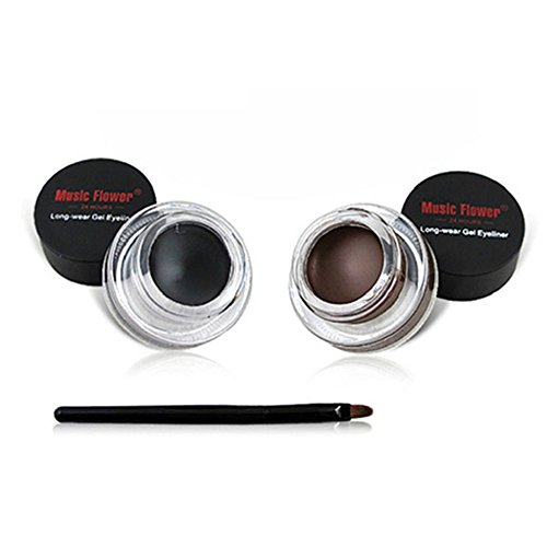 Silvercell Eye Liner Gel Eyeliner Makeup Cosmetic + 2PCS Brush Sets A21